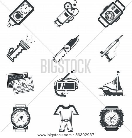 Diving black vector icons