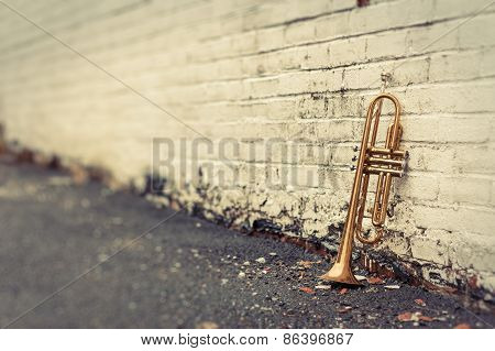 Old Trumpet Brick Wall