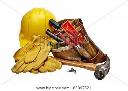 Carpenter tools hammer nails screws level tape measure screwdrivers pliers and hacksaw isolated on black background poster