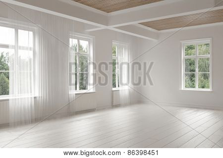 Large empty spacious bright white loft room lit by numerous windows overlooking green trees for your furniture placement. 3d Rendering