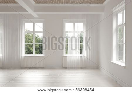 Empty stark white monochrome spacious interior of a loft room surrounded by windows letting in bright daylight with structural ceiling beams.  3d Rendering poster