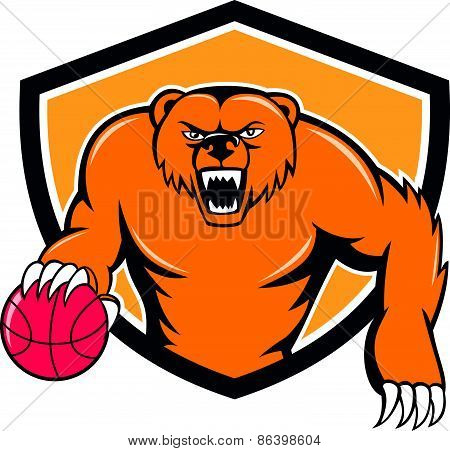 Grizzly Bear Angry Dribbling Basketball Shield Cartoon