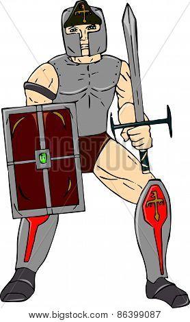 Knight Wielding Sword And Shield Cartoon