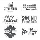 Set of logo, badge,label, emblem, print or logotype elements for sound recording studio, t-shirt or sound production poster