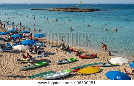 Tourists At Fig Tree Bay Protaras ,  Cyprus