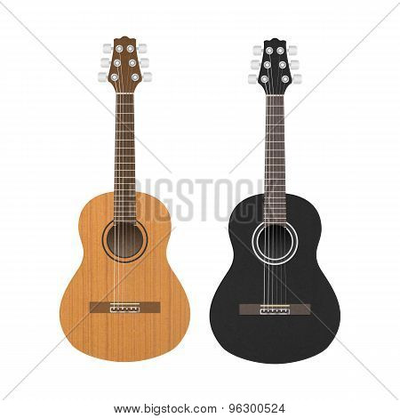 Acoustic Classic Guitar Is Brown And Black Color