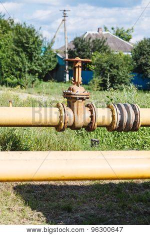 Valve On Gas Pipeline In Village