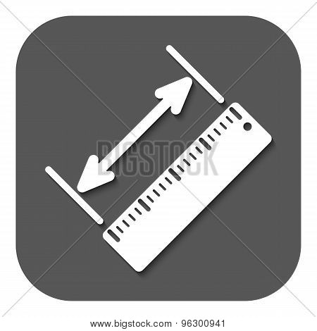 The diagonal measurement icon. Ruler and straightedge, scale symbol. Flat