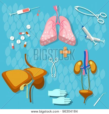 Medicine and health human organs lungs liver kidneys transpatologiya vector illustration