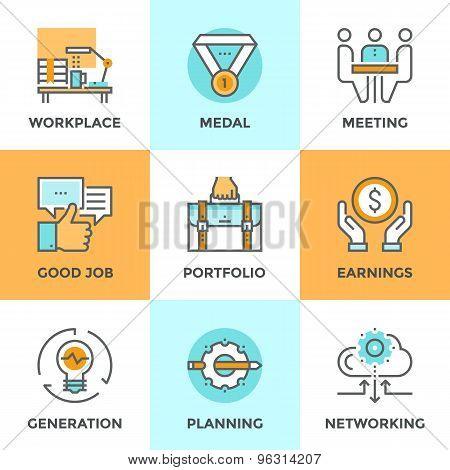 Business Elements Line Icons Set