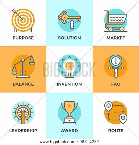 Business Symbols Line Icons Set