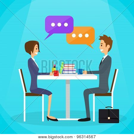 Business People Man and Woman Talking Discussing Chat Communication