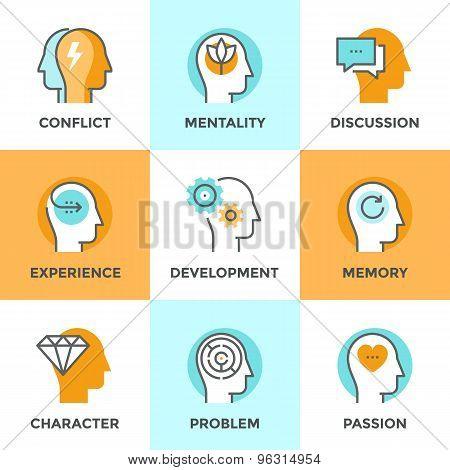 Human Mind Line Icons Set
