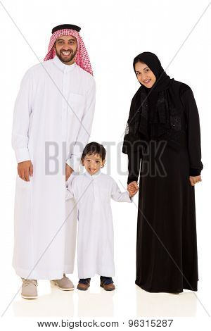 happy young muslim family standing together isolated on white