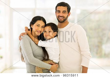 modern young indian family portrait
