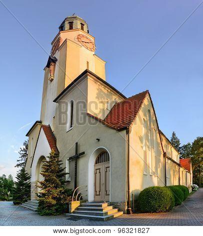 Church At Sunset In The City Dobzhen Wielki, Polska