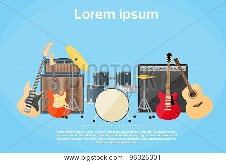Musical Instruments Set Guitar Drums Rock Band