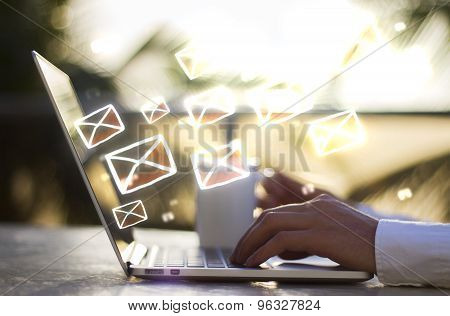 Man With Laptop And Email Concept
