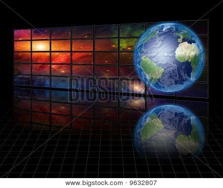 Hochauflösende Video-Bildschirme mit Erde