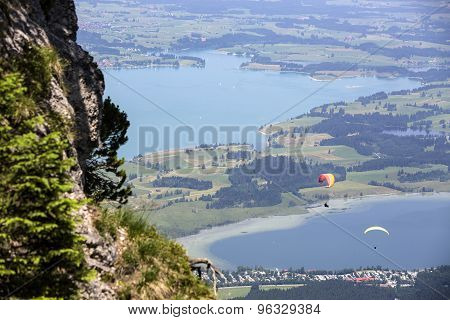 Paragliders Flying Over Bavarian Lake Forggensee
