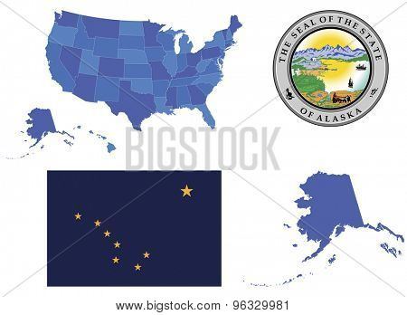 Vector Illustration of state Alaska,contains: High detailed map of USA High detailed flag of state Alaska High detailed great seal of state Alaska Alaska state,shape