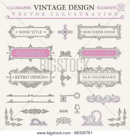 Calligraphic frames vintage elements. Vector baroque logo set. Design symbols and page decoration. Border frames collection royal ornament. Pastel colors