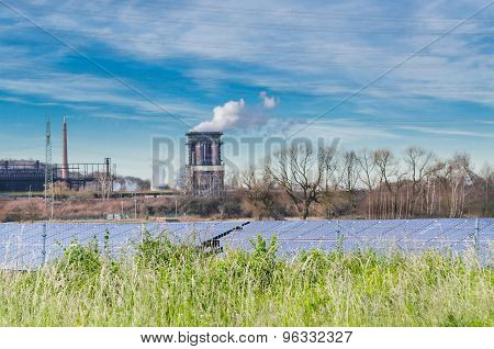 Old Power Plant With Solar Panels
