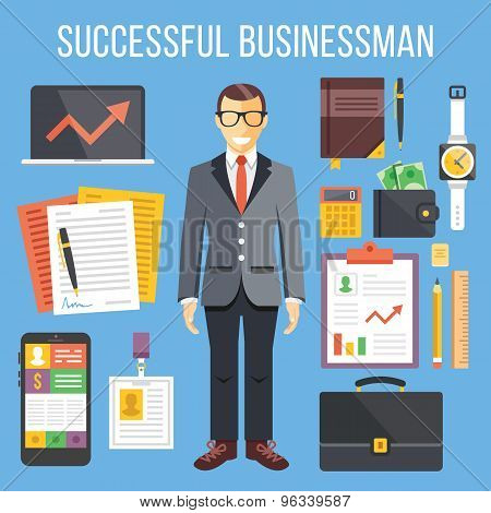 Successful businessman and business stuff flat illustration and flat icons set