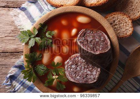 Soup With Black Pudding Fabada Asturiana Horizontal Top View Closeup