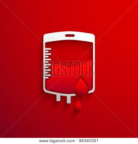 Bag Blood Donation Concept With Red Blood Drop And Shadow Effect On Red Background