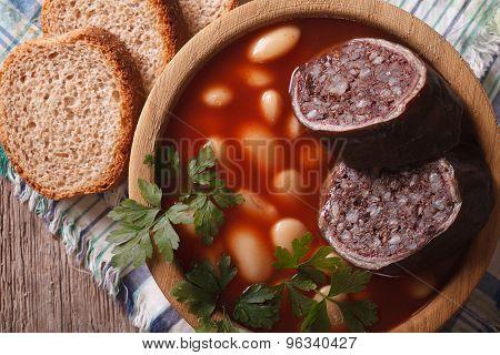 Spanish Fabada Asturiana Soup Close Up. Horizontal Top View