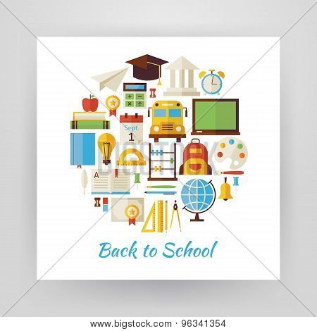 Flat Style Circle Vector Set Of Back To School And Education Objects Isolated Over White
