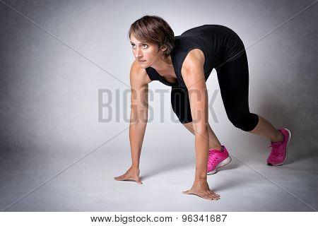 Woman In Running Start Position