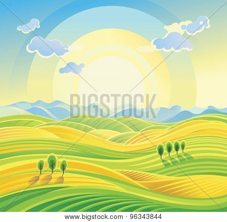 Sunny country landscape with rolling hills and fields.
