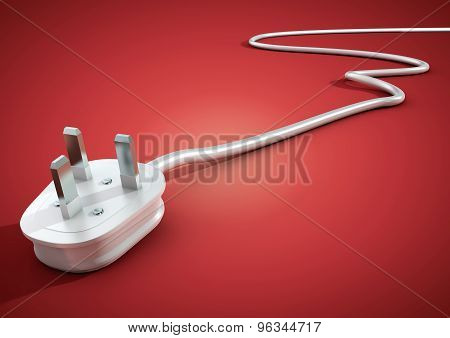 Electrical Plug And Cable Lies Unplugged Isolates On Pink Background