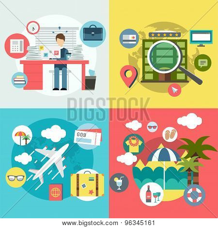 Travel by Plane vector illustration. Plane, Baggage and Glasses symbols. Stock design elements.
