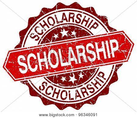 Scholarship Red Round Grunge Stamp On White
