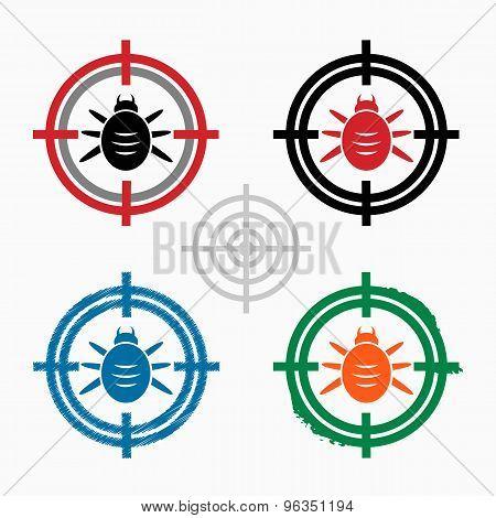 Bug Icon On Target Icons Background