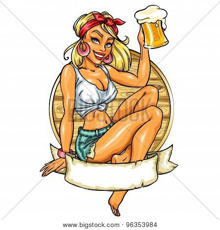 Pretty Pin Up Girl Holding Beer Mug.