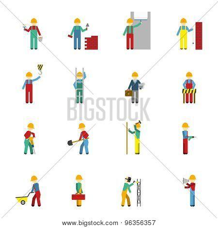 Builders Flat Icon Set