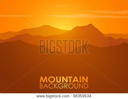 Mountain range over sunset. Vector background.