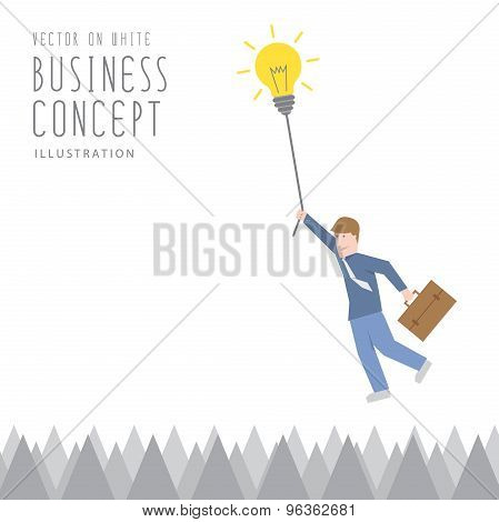 Businessman Overcome The Obstacles Of Sharp Barbs By Adhesion By A Rope Of Light Bulb Flat Vector.