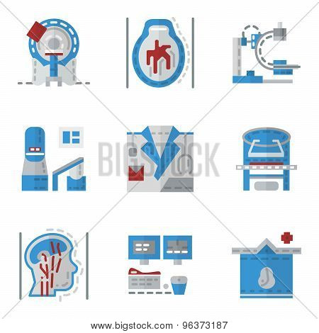 Simple flat color vector icons for MRI