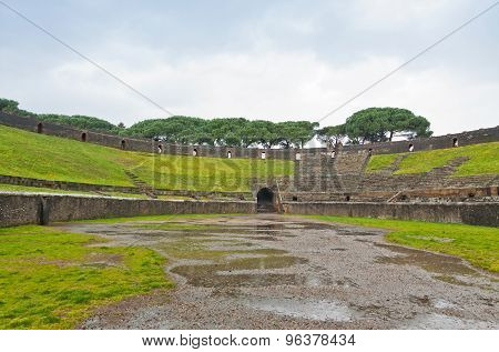 Amphitheatre In Ancient Roman City Of Pompei, Italy