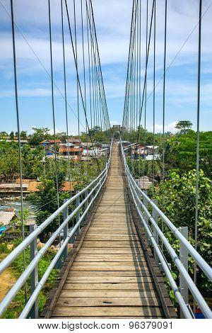 Rope bridge in Bukit lawang village, Sumatra, Indonesia