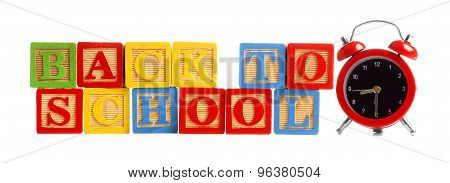 Back to School toy wooden blocks with alarm clock