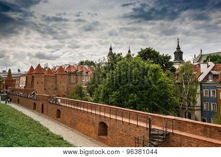 Barbican - Fortified medieval outpost in Warsaw, Poland. Summer time.