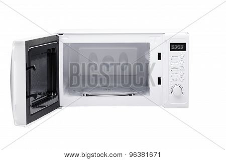 microwave white and black front side is open poster