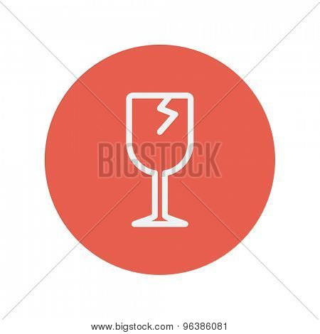 Broken glass wine thin line icon for web and mobile minimalistic flat design. Vector white icon inside the red circle.