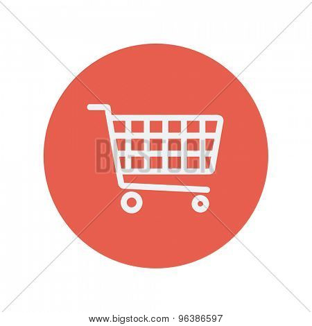 Shopping cart thin line icon for web and mobile minimalistic flat design. Vector white icon inside the red circle.